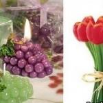 Свеча в виде винограда и тюльпанов