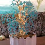 дерево из голубого бисера
