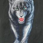 Вышивка крестом. Пантера, размер в раме 27 на 44 см. Цена договорная